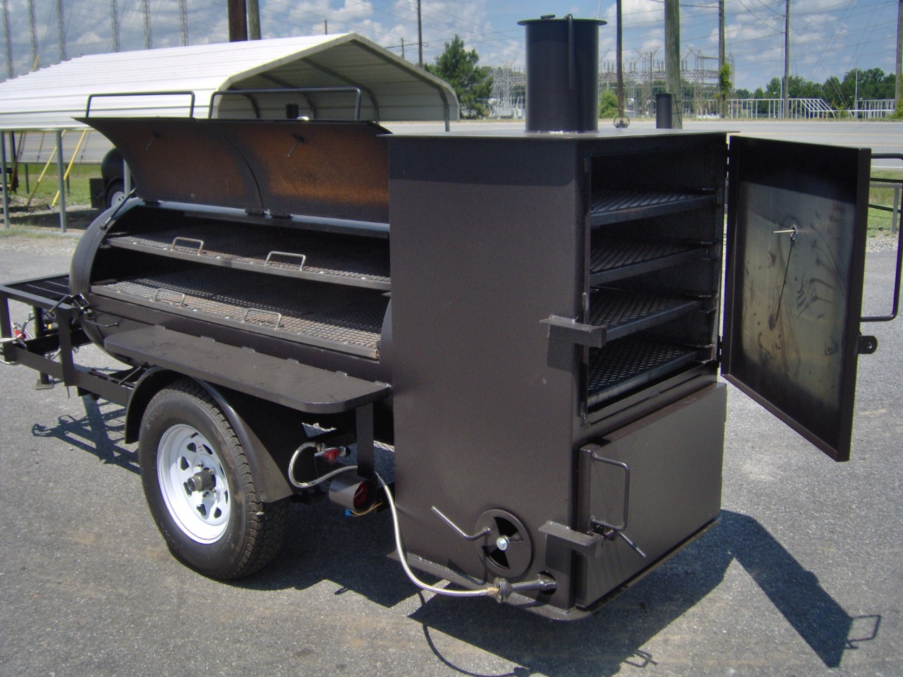 rib box bbq smoker pit grill on trailer w gas starter ebay. Black Bedroom Furniture Sets. Home Design Ideas