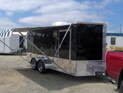 7x16 enclosed motorcycle cargo trailer A/C unit w awning ...