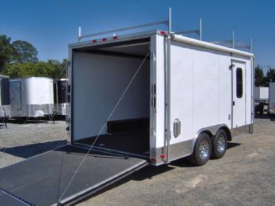 Enclosed Motorcycle Cargo Trailer A C Unit Awning