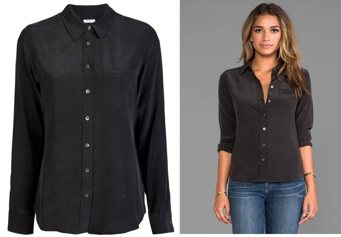 New 198 equipment brett washed silk blouse shirt black xs for Equipment black silk shirt