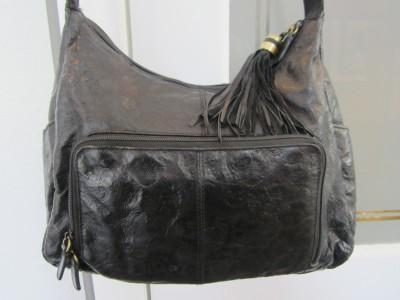Gentil Cabin Creek Black Fl Embossed Soft Leather Hobo Shoulder
