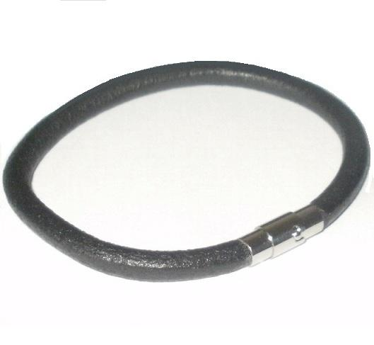 BLACK-5MM-LEATHER-CORD-WRISTBAND-BRACELET-MAGNETIC-STAINLESS-STEEL-CLASP