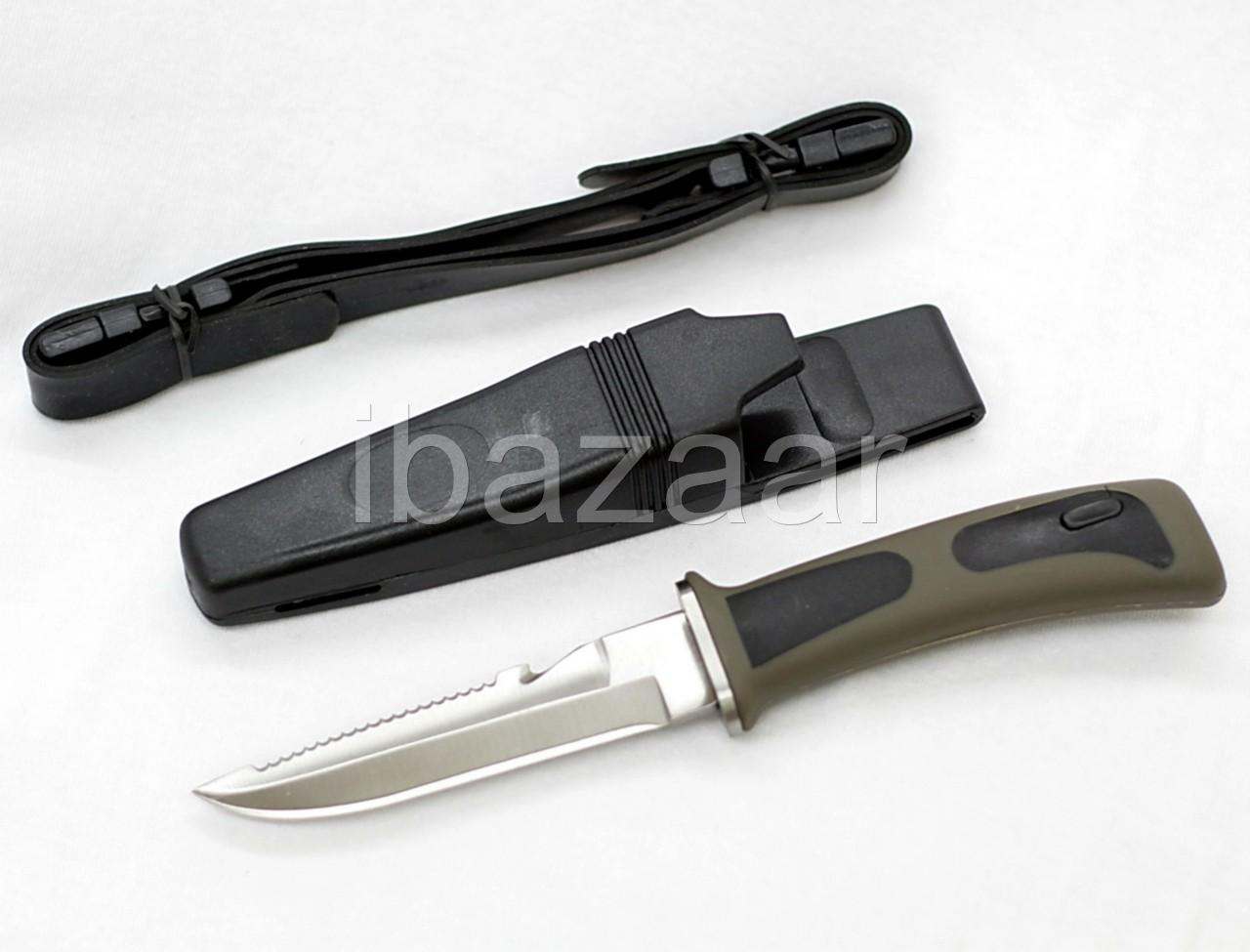 STAINLESS-STEEL-RUBBER-HANDLE-DIVE-KNIFE-Scuba-Diving-Scabbard-Snorkel-Hunting
