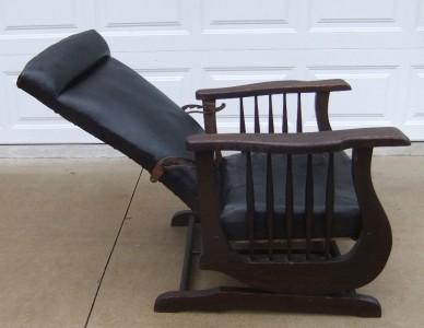 Antique Morris Arts Crafts Mission Black Leather Recliner
