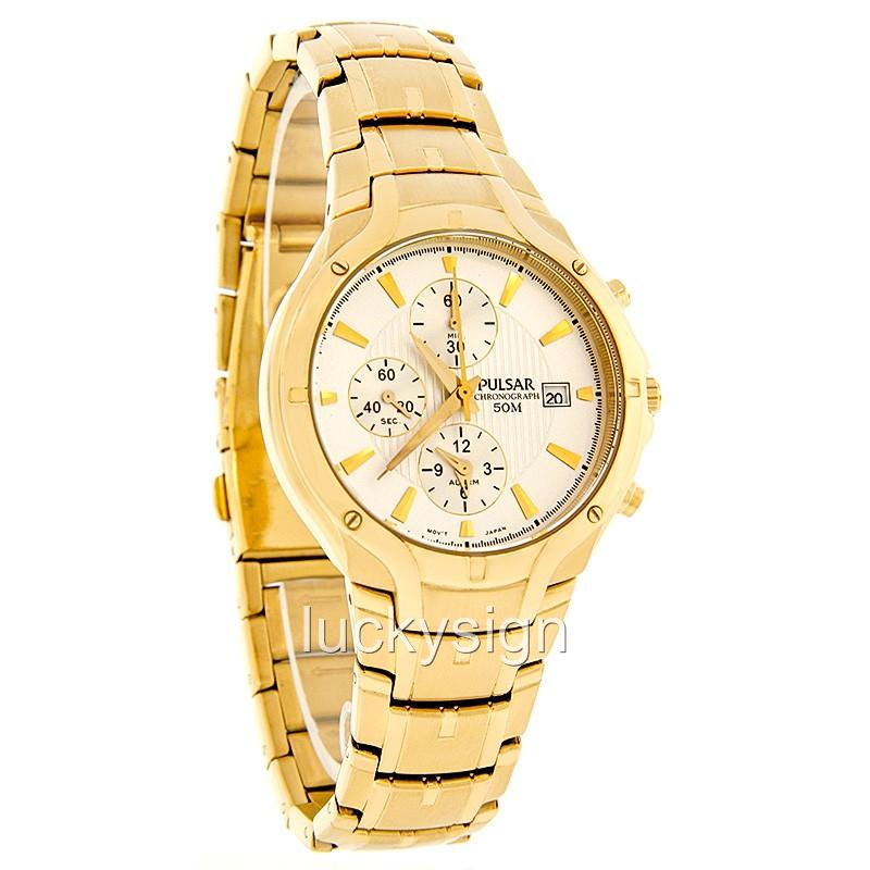 pulsar by seiko gold tone chrono alarm mens ebay