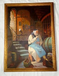 Vtg framed oil painting canvas monk drinking wine cellar for Painting while drinking wine