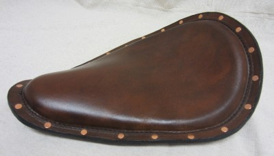 12x15brown Distressed Leather Seat Copper Rivets Harley