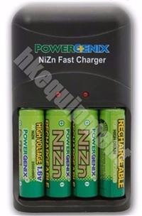 PowerGenix NiZn 1.6v Rechargeable AA LSD Photo Flash Battery x4+Quick Charger