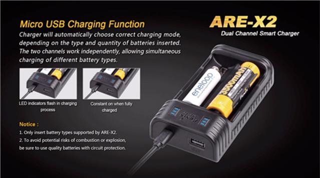 Fenix Are X2 18650 Aa Aaa Nimh Usb Rechargeable Powerbank Battery Charger