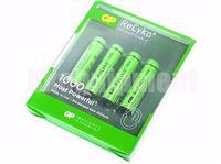 GP Recyko+ AAA 1000 Rechargeable LSD NiMH 1.2v Battery x4+CASE