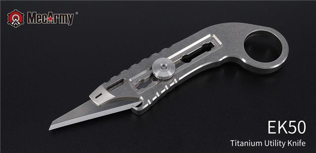 Mecarmy Ek50 Titanium Ti Retractable Knife 440a Tc4 Necklace