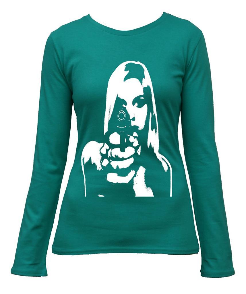 Girl Gun Print Design Long Sleeve T Shirt Top Ladies Women