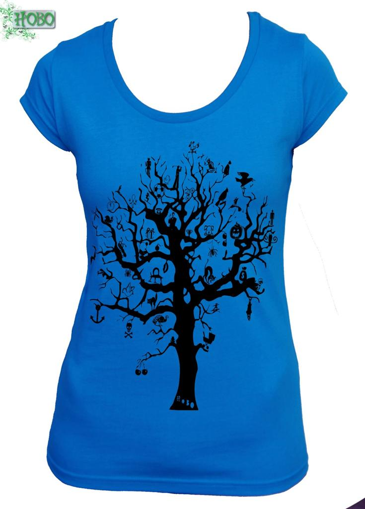 Tree With Hidden Things Hobo Designs V Neck T Shirt Funky