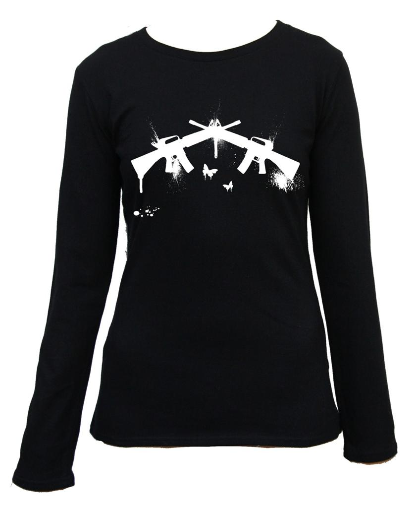 Machine Gun Graphic Machine Gun Rifle Long Sleeve