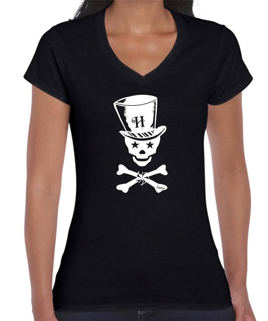 Top Hat Skull Size Designs Ladies Women 39 S T Shirts Tops
