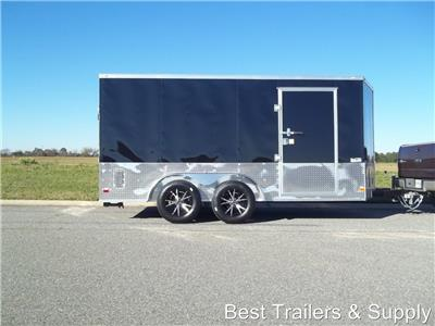7x14 Enclosed Double Motorcycle Trailer Black ATP Sport