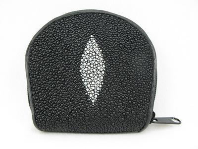 Genuine BLACK Stingray Leather Coin Purse Wallet +