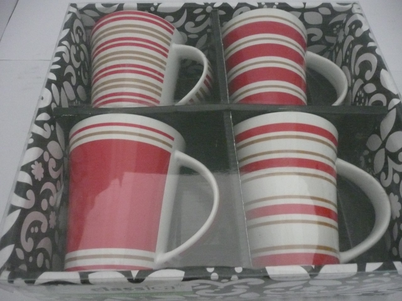 CLASSICA-SET-OF-4-PORCELAIN-MUGS-LLOYD-RED-WHITE-GOLD