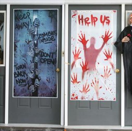 Decorating Ideas > Zombie Halloween Door Covers Help US Zombies Inside Fancy  ~ 151936_Halloween Door Greetings