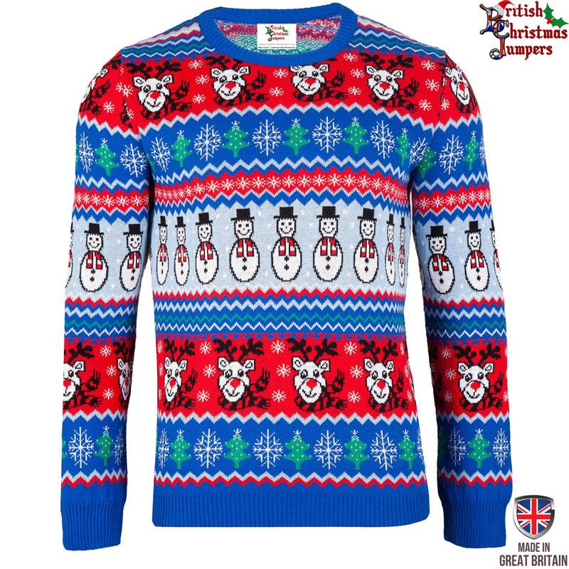 Christmas Jumper Party: BRITISH COMIC BLUE CHRISTMAS JUMPER MENS LADIES Fancy