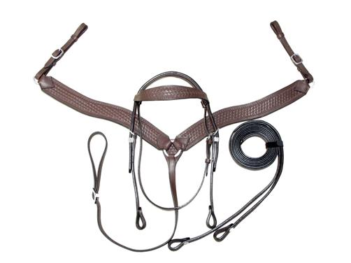 Weave-Leather-Western-Bridle-Breastplate-Set-FULL-Sz