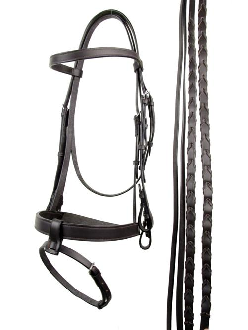 Brown-Flat-Leather-Weymouth-Horse-Bridle-Reins-COB-Size
