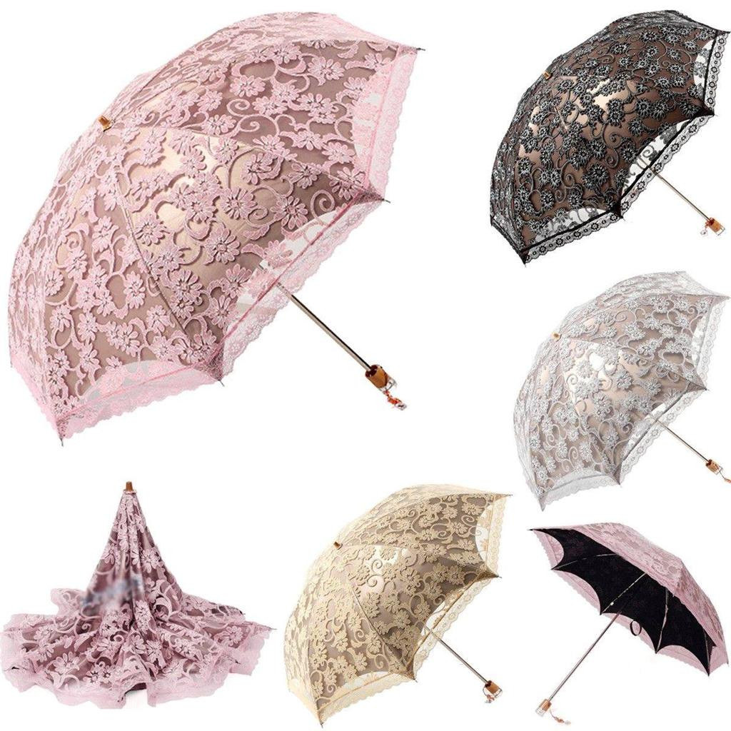 women new lace princess parasol sun anti uv folding wedding bridal rain umbrella ebay. Black Bedroom Furniture Sets. Home Design Ideas