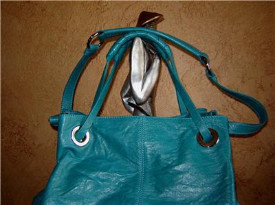 Francesco Biasia Aqua Leather Bag Tote Purse Zip Handbag Retails $568