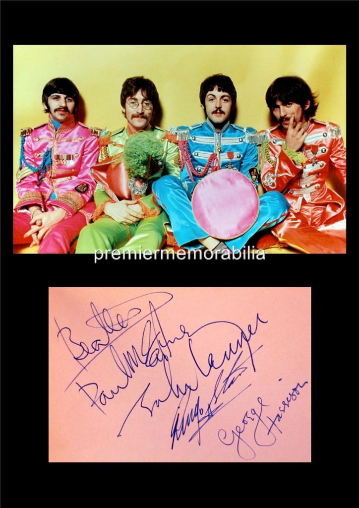 THE-BEATLES-Sgt-PEPPER-LENNON-PAUL-McCARTNEY-STARR-HARRISON-SIGNED-PRINTED-A4