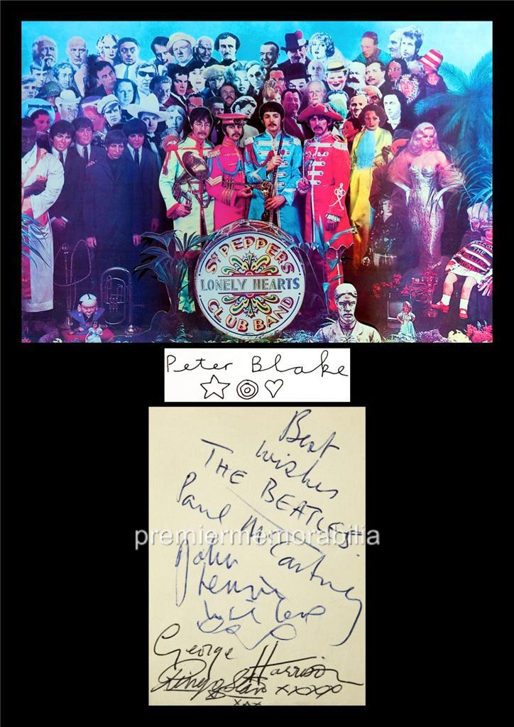 THE-BEATLES-JOHN-LENNON-McCARTNEY-HARRISON-STARR-PETER-BLAKE-SIGNED-PRINTED