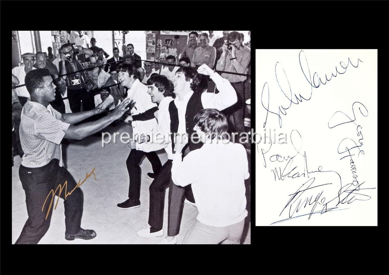 MUHAMMAD-ALI-THE-BEATLES-JOHN-LENNON-McCARTNEY-HARRISON-STARR-SIGNED-PRINTED