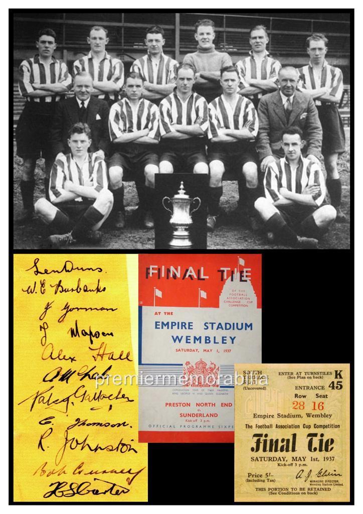 SUNDERLAND-FC-1937-FA-CUP-RAICH-CARTER-BOBBY-GURNEY-SIGNED-PRINTED-A4-PRINT