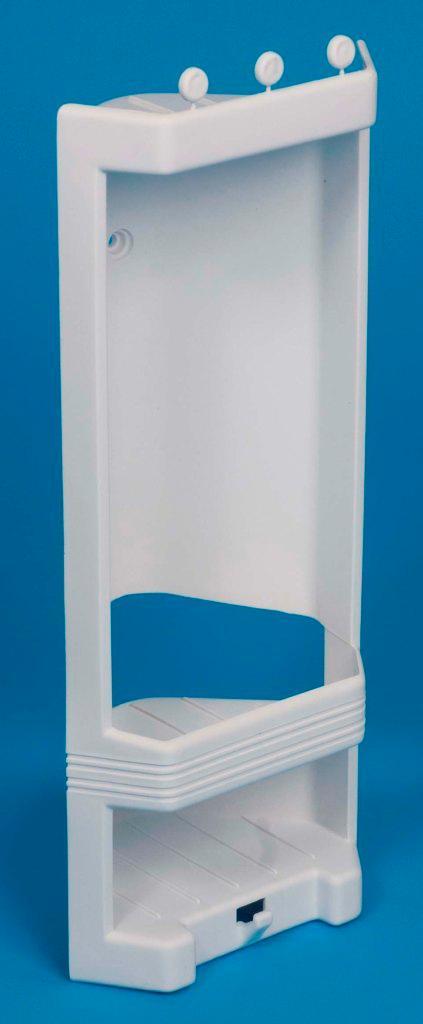 white plastic corner shower caddy shelf brand new ebay. Black Bedroom Furniture Sets. Home Design Ideas