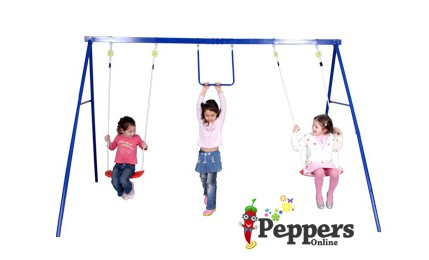 NEW-Eezy-Peezy-Kids-3-Unit-Station-Outdoor-Swing-Set