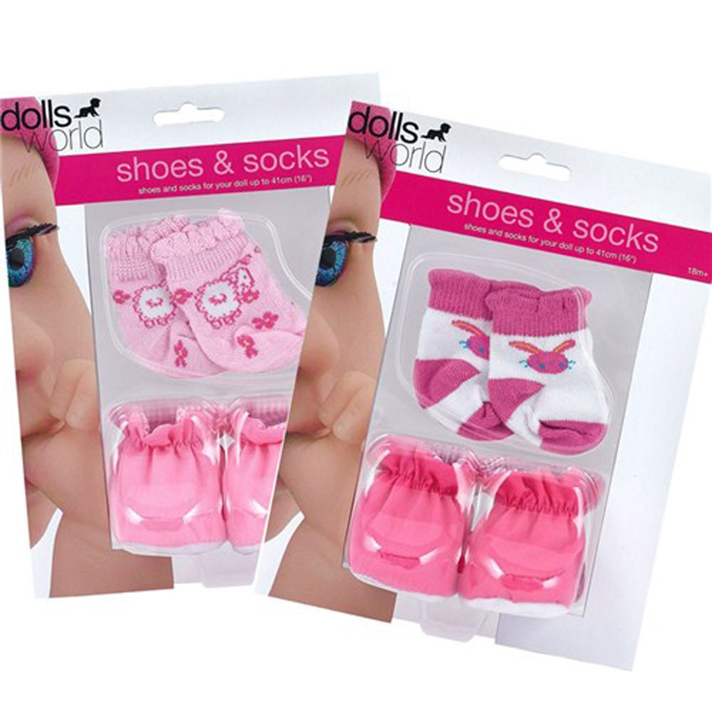 Dolls-World-Early-Moments-Doll-Accessories-For-Baby-Girl-Pink-Shoes-And-Socks