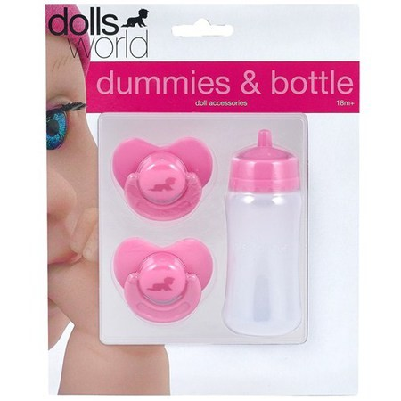 Dolls-World-Early-Moments-Doll-Accessories-For-Baby-Girl-Pink-Bottle-Dummies