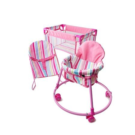 NEW-Girls-3pc-Dolls-Accessories-Playset-Bouncer-Walker-and-Portable-Cot