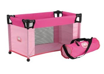 NEW-Chica-Pink-Portable-Baby-Doll-Travel-Cot-Girls-Pretend-Play-Parent-Toy