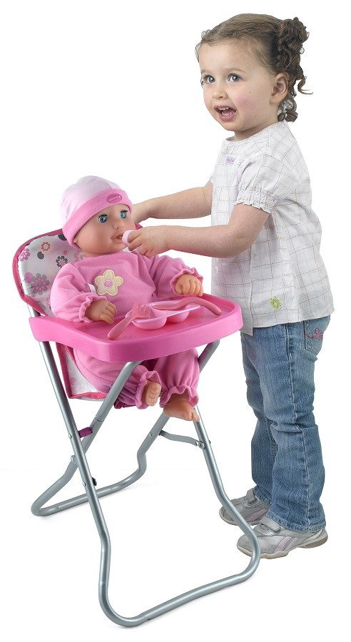 Dolls-World-Metal-Highchair-Girls-Pretend-Play-Parent-High-Chair-Toy-Baby-Doll