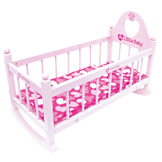 My-Little-Baby-Dolls-Wooden-Rocking-Bed-Cradle-Cot-Girls-Pretend-Play-Parents