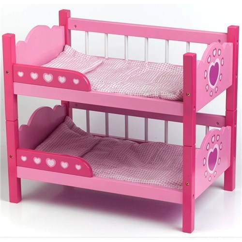 Dolls-World-Pink-Bunk-Beds-w-Quilt-Pillow-Pretend-Play-Parent-Toy-For-Baby