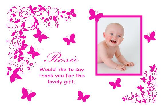 10 Personalised Own Photo Baby Girl / Boy Thank You Cards | eBay