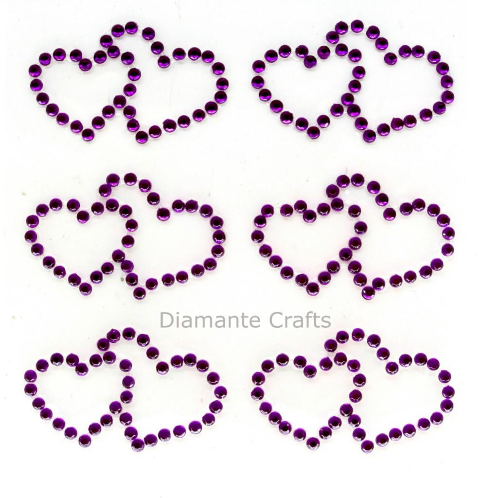 6 rhinestone double hearts gems vajazzle body gems for Rhinestone body tattoos