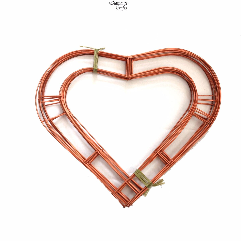 Wreath Heart Shaped Flat Wire Copper Frame - 12\