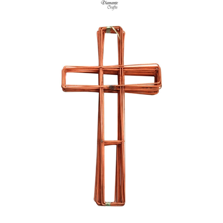 Wreath Cross Shaped Flat Wire Copper Frame - 15\