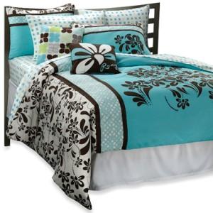 9pc roxy julia blue brown tropical duvet cover sheet set pillow full