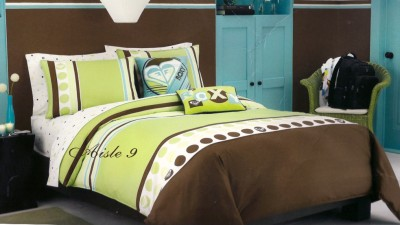7p roxy kelly colorblock brown green comforter set twin ebay
