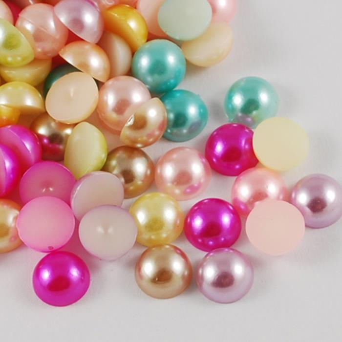 Faux Pearl Half Bead Cabochons Acrylic Flat Back Gems Embellishments Decoden