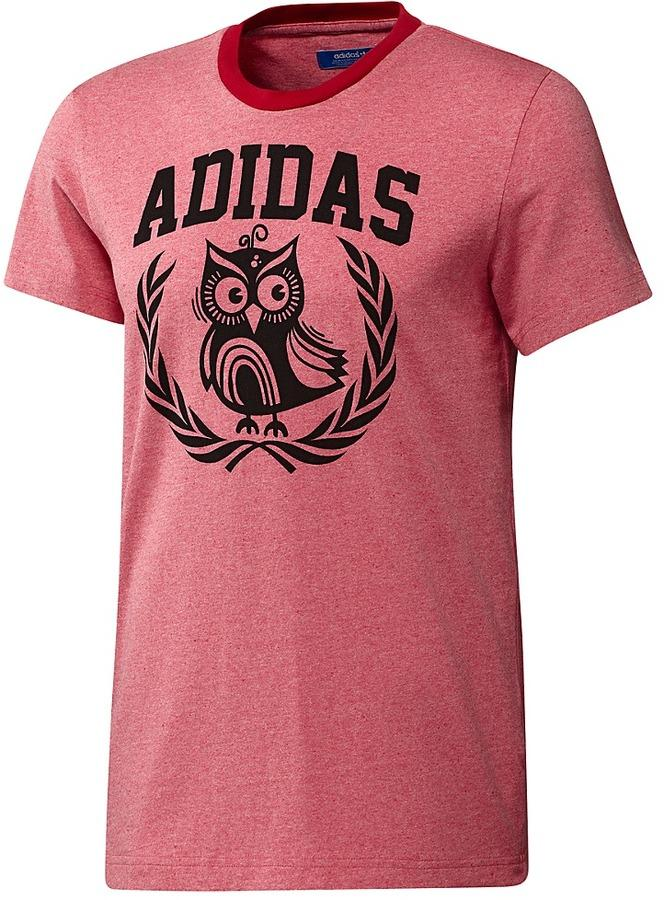 mens adidas red college ivy league owl graphic tee slim