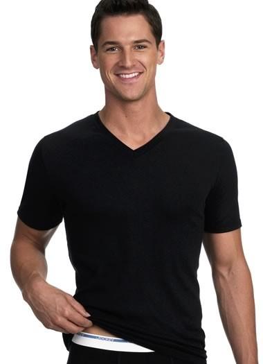 Mens quality jockey brand 2 pack black v neck extra length for Jockey v neck shirt